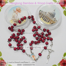 perfume Rose scented wood rosary catholic prayer beads with pope center & plastic saint case