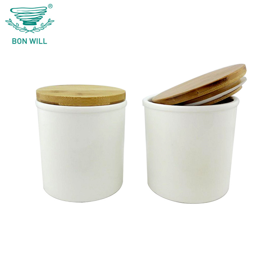 Ceramic coffee seal canister set with wooden lids