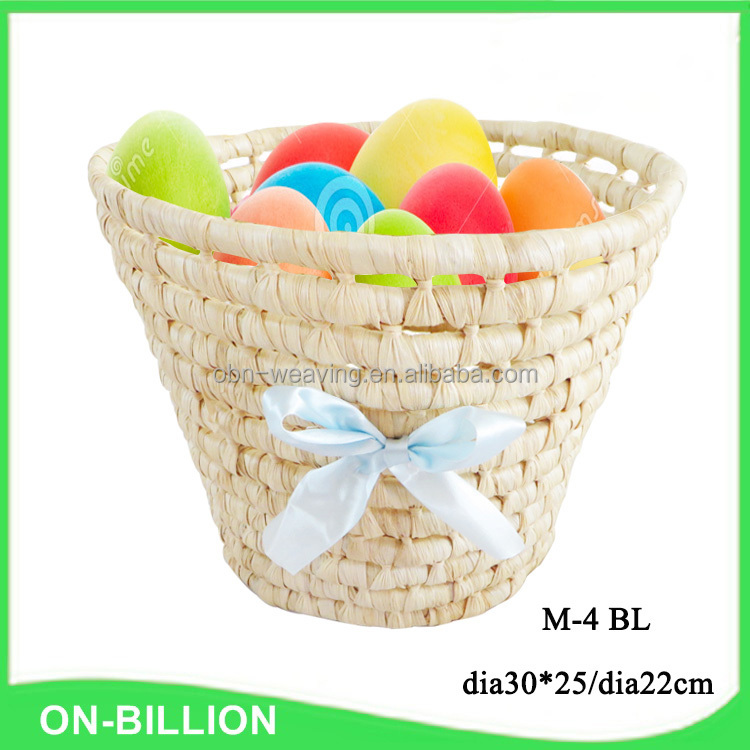 Personalized corn husk easter straw basket with bowknot decoration