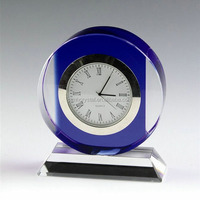 Custom unique Engraved K9 Crystal Small Desk Clock For Souvenir Gift MH-ZB0013