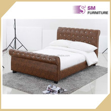 Adult sized bed high back designer pu leather bed for home furtniture