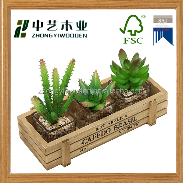 Trade assurance multifunctional table eco-friendly wooden flower pot tray