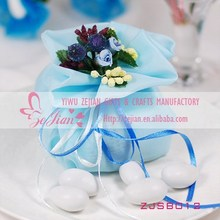 Orangza Blue Candy Bags With Bouquet Flowers For Europe Sweat Wedding Gift Candy Bags