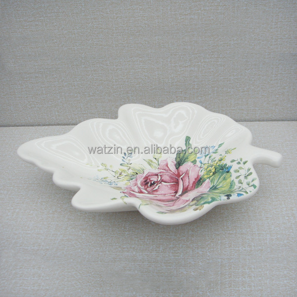 Leaves shaped custom ceramic flower plate holder