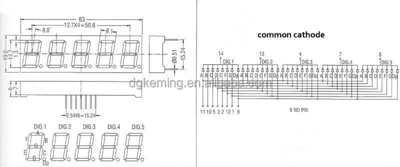 5 digit 7 segment led display manufacturer super red 0.56 inch 5 digit 7 segment display