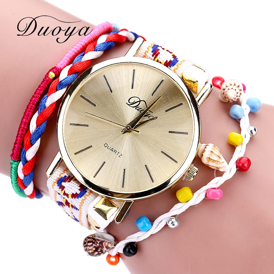 Duoya Brand Watches Women Luxury Gold Weave Bracelet Vintage Classic Wristwatch Crystal Fashion Casual Handmade Colorful Watches