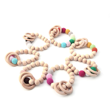 Teether baby Jewelry Wooden teether Wooden Ring Baby bracelet infant toy nature safe organic Toy