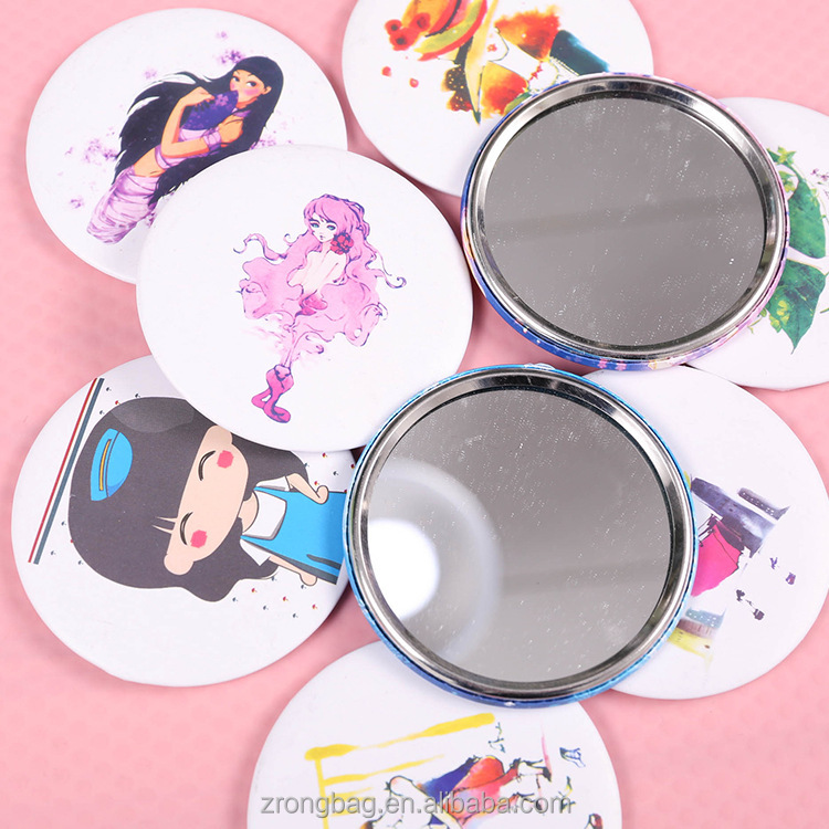Promotional round small travel makeup mirror/ custom logo compact handbag mirrors