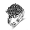 Mytys Hot Sale Item Women and Men Retro Style White Gold plated Color Black Crystal Jewelry Finger Ring R2140