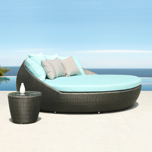 Patio swimming pool furniture wicker round rattan daybed outdoor bali sunbed patio sofa bed