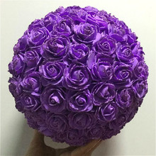 High quality Artificial Glitter foam rose hanging decorative flower ball for Wedding decoration