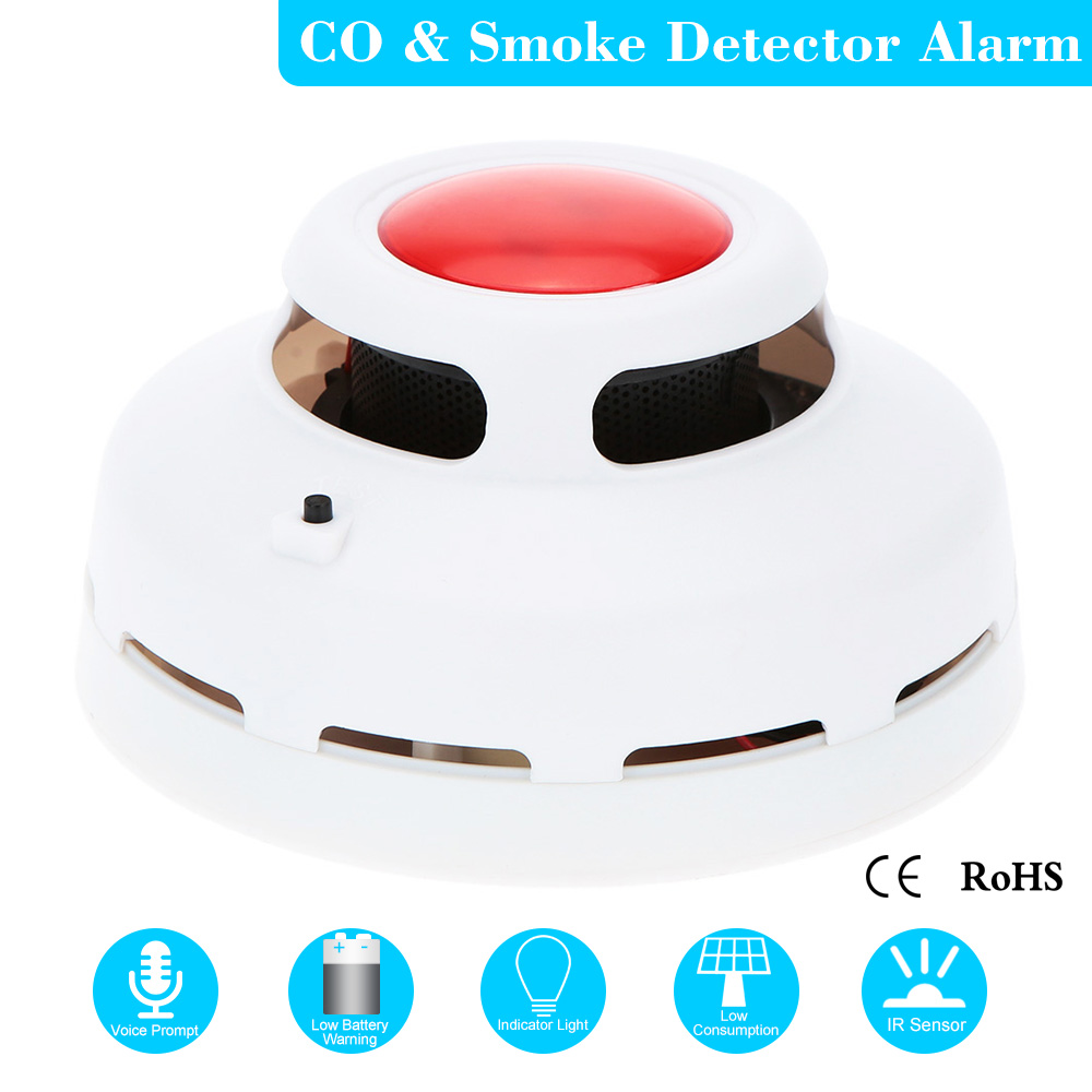Standalone Carbon Monoxide Detector Tester Gas Sound Alarm Sensor CO Smoke Detector Fire Alarm For Home Security Voice Prompt