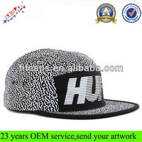 Full dot print custom logo printed floral 5 panel hat wholesale