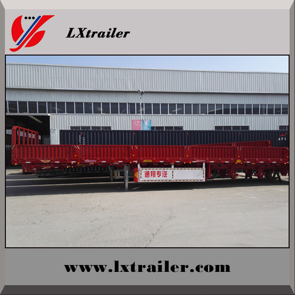 High quality 3 Axle Mechanical Suspension Double tires 12 wheelers fence side wall semi trailer for sale