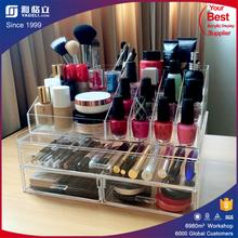 Luxury customized desktop acrylic display stand acrylic cheap makeup organizer drawers