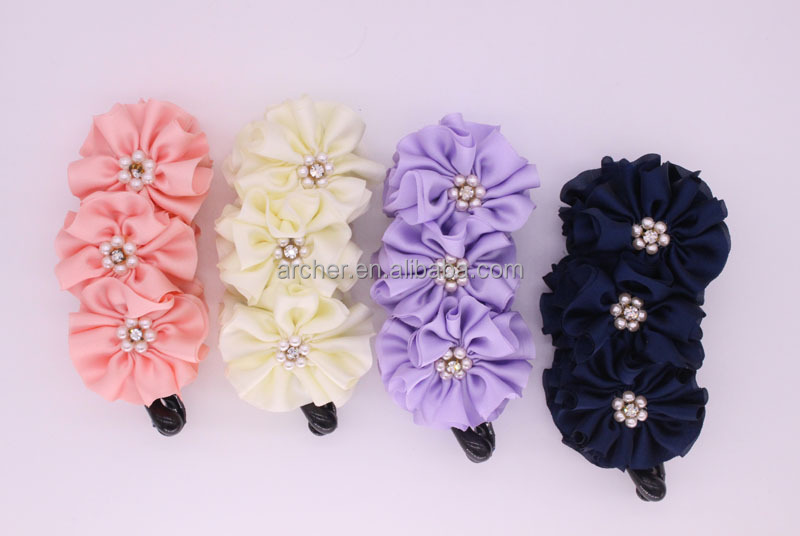 High quality factory direct sale elegant fabric pretty bow hair clip banana clip lady fancy ornament in China