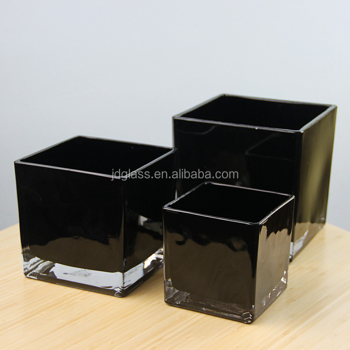 Factory Direct Supplied Home Decor Black Square Candle Jar