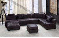 German sofa style, modern U shape leather sofa for living room furniture