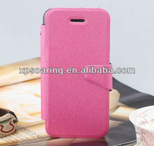 Credit card stand leather case for iphone 5C silk design