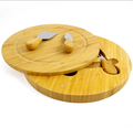 Round -- bamboo cheese board with knife set for party / pinnic