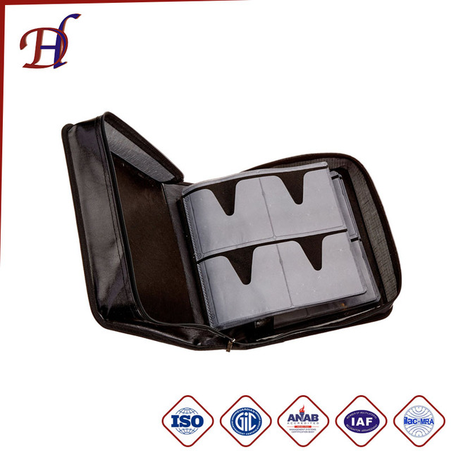 Hot sell Zipper portable DVD case with polyester covering/wholesale Vinyl PU leather CD bag