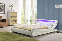 Modern italian designer curve pu leather led bed