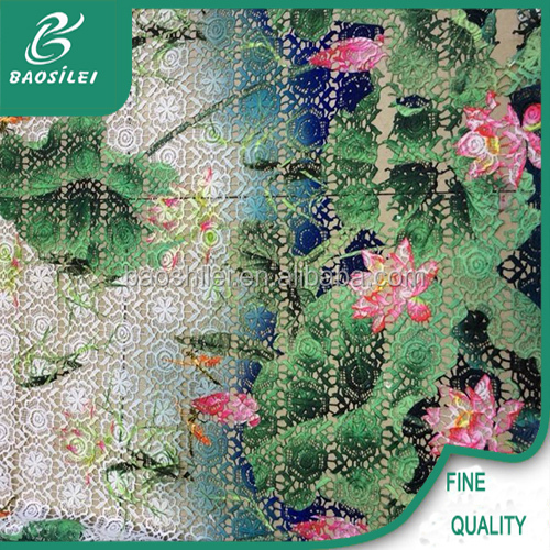 Multicolor embroidery lace fabric with hand embroidery patterns for hand embroidery dresses