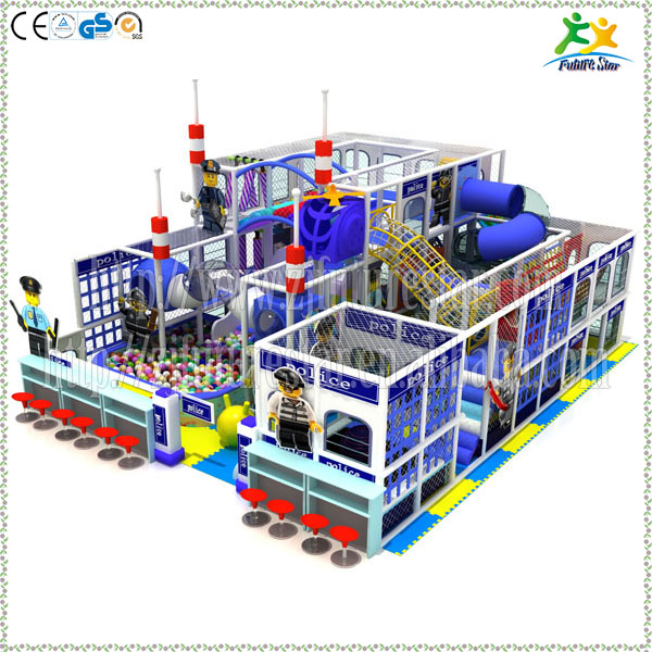 2016 innovation kids police theme LLDPE indoor playground