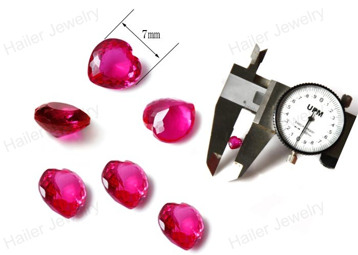 Heart shaped synthetic polished pink artifical ruby gemstone
