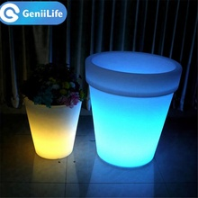 Hot Sale Led Plastic Flower Vase Glowing Furniture Decor Led color changing Lighted Self Watering Planter Pots