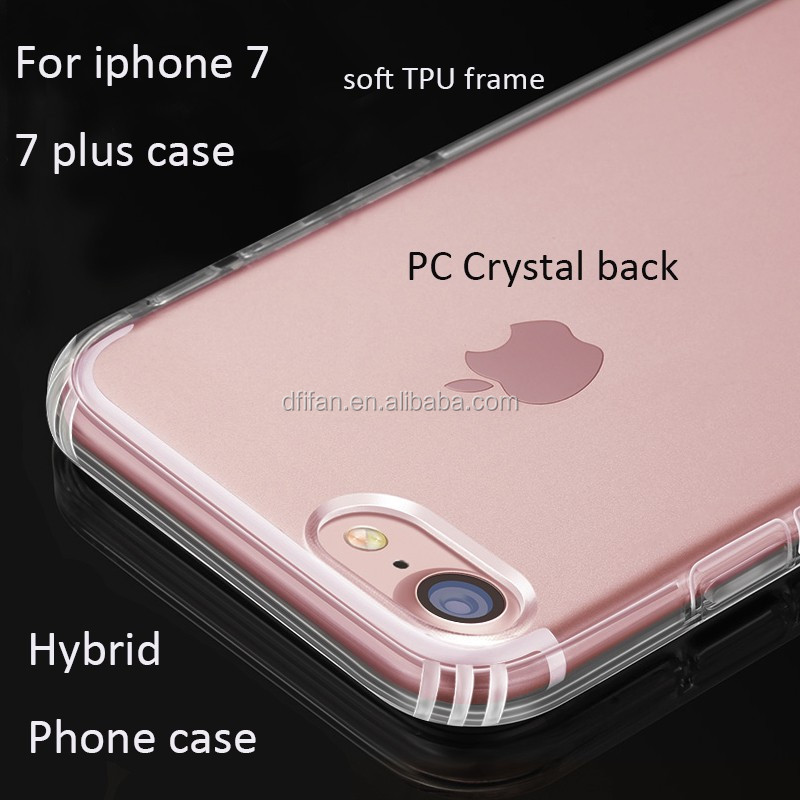 For iphone 7 hard PC back cover soft TPU border hybrid clear case for apple iphone 7