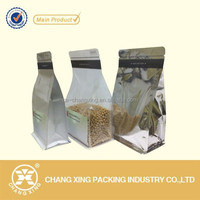 Natural transparent plastic/metalized/aluminum foil flat bottom bag with zipper for dry food packaging