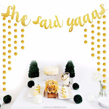 UMISS She Said Yaaas Paper Banner, Gold Glitter Party Supplies, Bachelorette Party Decorations