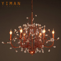 Modern unique Iron crystal Gold E27 Pendant light with ul ce good price vintage antique Industrial Chandelier