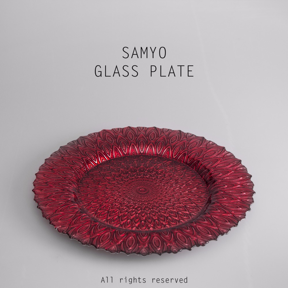 "Samyo 13"" wholesale embossed red color peacock tail glass charger <strong>plate</strong>"