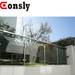 Balustrade and handrail railing system stainless steel garden pool glass fence for balcony / terrace