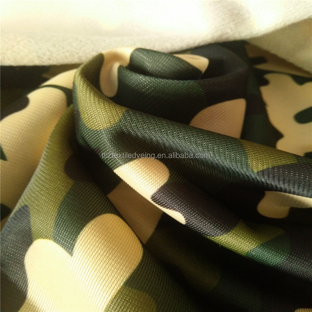 100% polyester warp knitted track suits tricot brush fabric printed super poly /gold velvet/clinquant velvet