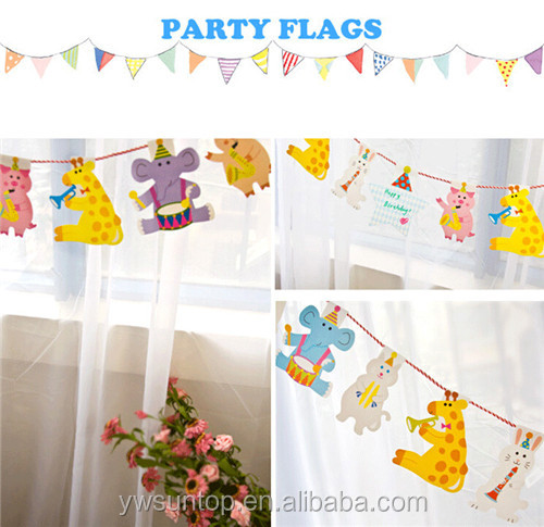 Cute Animal Party Bunting Flags Baby Shower Party Garland