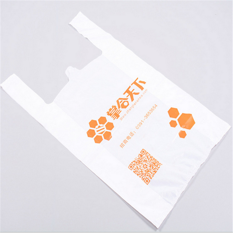 HDPE clear grocery restaurant packaging take-out plastic t-shirt bag