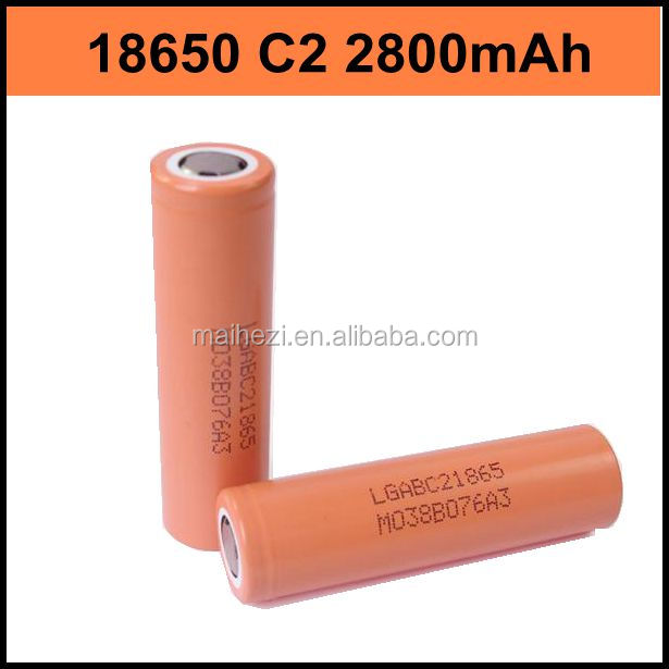 high drain 3.7v rechargeable c2 lg 18650 li-ion battery 2800mah for electrionic cigarette
