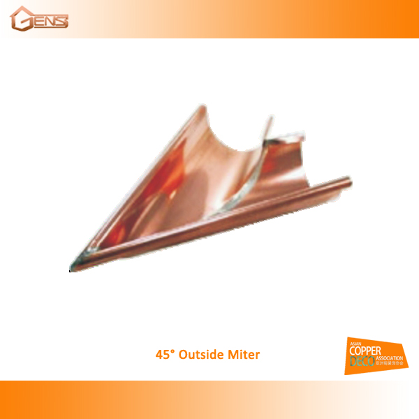 Roofing copper rain gutter for building material