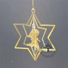 metal craft 3d metal Christmas ornament with angel flying