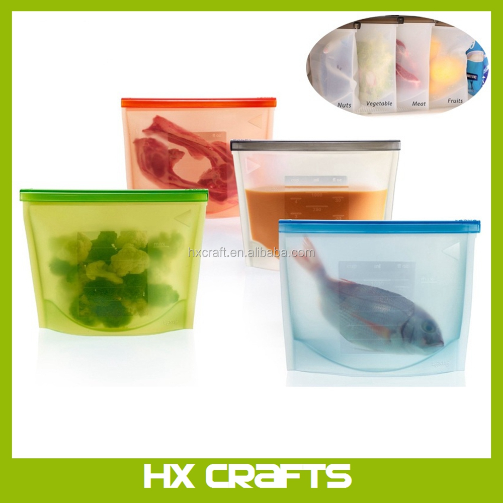 Reusable Plastic Food Preservation Bag Refrigerator Storage Container Silicone Kitchen Storage Bag
