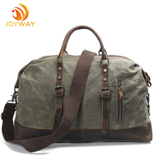 Vintage Genuine Leather and Canvas Weekender duffel travel bag for men