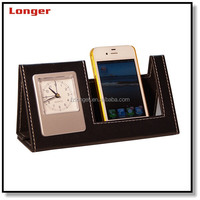 Fancy PU leather Clock Mobile Phone Holder with Photo Frame