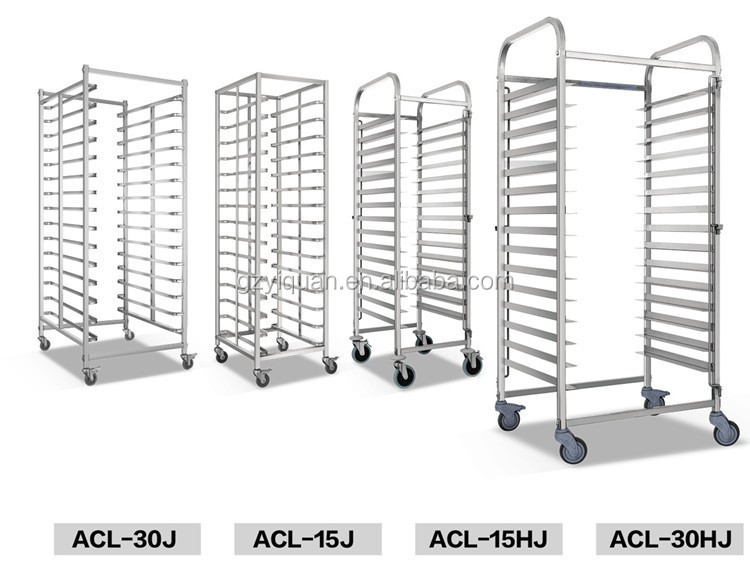 High quality stainless steel bakery bread rack trolley cart, pan cake shelf