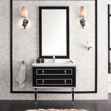 BN-8345 Modern Black natural marble with basin bathroom cabinet