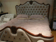 2015 French Romantic Handcarved Wooden Princess fabric Double Bed