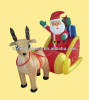 180cm high Christmas inflatable Santa on sleigh