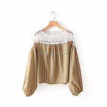 Sexy stylish new models ladies o neck long sleeve stripe color high quality lace up blouse